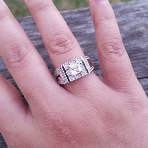 💍 Gorgeous Square Sterling Silver Ring w/CZ 💍
